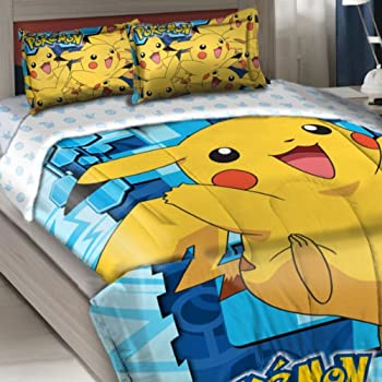 officially licensed twin full bed comforter and sham set pokemon pikachu