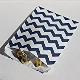 white and blue popcorn bags - Navy Blue and White Chevron Stripe Party Favor Bags with Stickers, 5.5