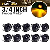 "10x Truck Trailer Boat 3/4"" Amber Round Led Light Marker Grommet Smoked Lens, For Jeep Ford Dodge Chevy GMC Pickup Trucks Amber LED 3/4"" Mini Auxiliary Turn Signal Light Lamps"