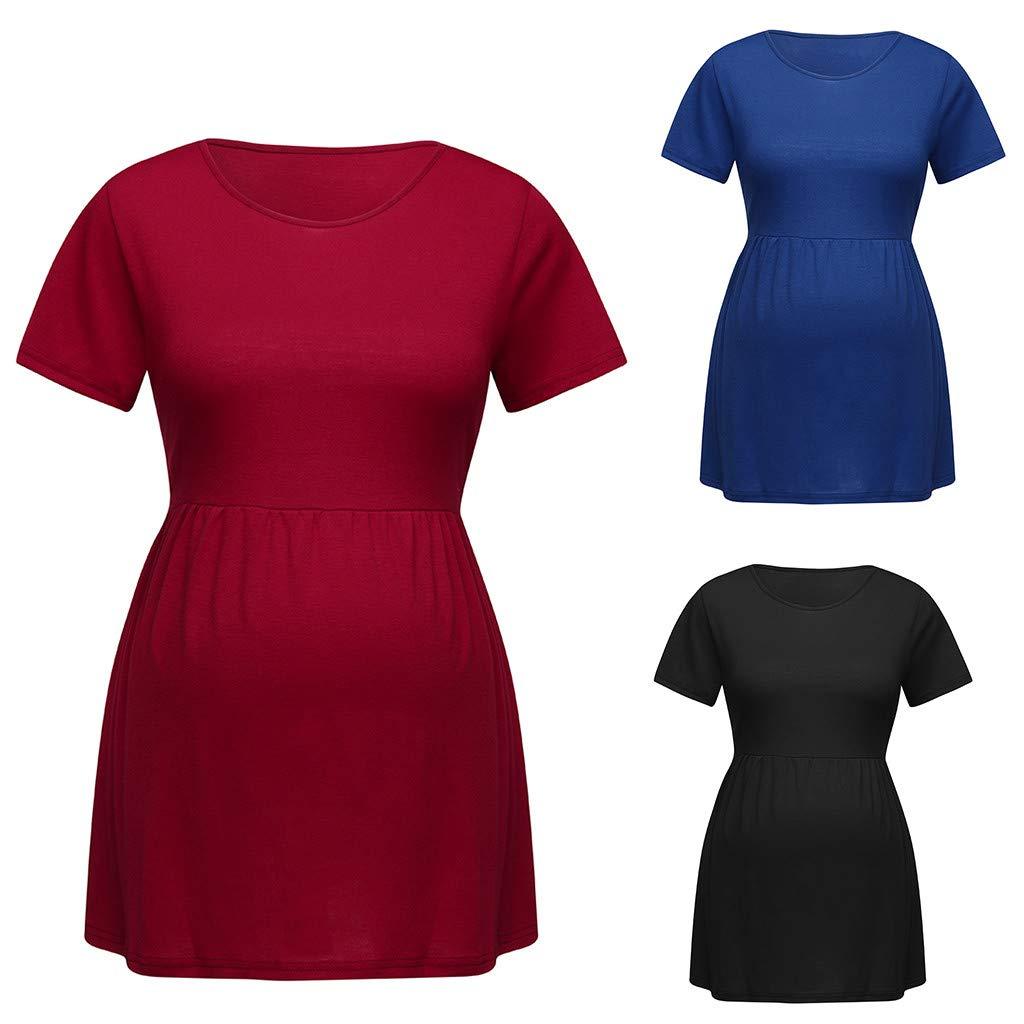 7b9043ddfdbc5 Amazon.com : Women O-Neck Pregnancy T Shirt Summer Short Sleeve Top Nusring Maternity  Clothes (Size:L, Blue) : Baby