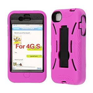 Apple iPhone 4 - Hot Pink Silicone Skin on Solid Black Hard Kickstand - Snap On Cover, Hard Plastic Case, Face cover, Protector - Retail Packaged