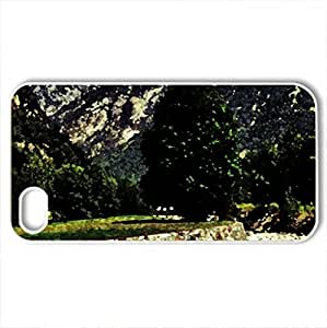 lintao diy Alpine river - Case Cover for iPhone 4 and 4s (Mountains Series, Watercolor style, White)