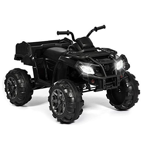Best Choice Products 12V Kids Powered ATV Quad 4-Wheel Ride-On Car w/ 2 Speeds, Spring Suspension, MP3, Storage - Black