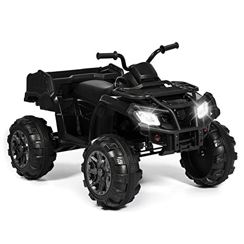 Best Choice Products 12V Kids Powered Large ATV Quad 4-Wheeler Ride-On Car w/ 2 Speeds, Spring Suspension, MP3, Lights, Storage - Black]()