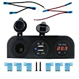 Ambuker DC 12V Power Socket + DC Digital Voltmeter+dual usb sockets Three Hole Tent Socket Power Waterproof Boat Camper Caravans