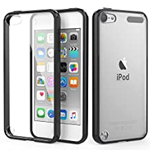 iPod Touch 6 Case, iPod Touch 5 Case, MoKo Shock Absorbing TPU Bumper Ultra Slim Clear Protective Case with Anti-Scratch Hard Back Cover for Apple iPod Touch 6th / 5th Generation - BLACK