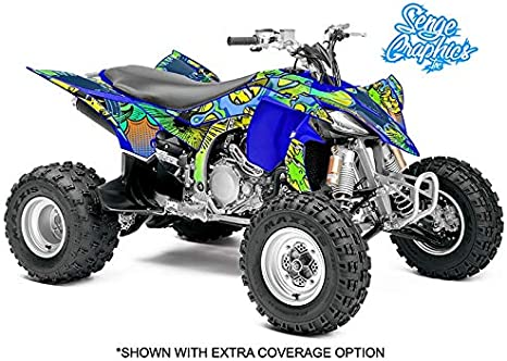 Senge Graphics Kit compatible with Yamaha 2013-2020 Raptor 700 Surge Blue Graphics Kit with blank number plates WITH EXTRA COVERAGE