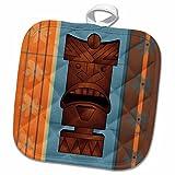 3dRose phl_77492_1 1 Pot Holder Wood Grain Tropical Tiki Mask Hawaiian Flowers Orange Blue and Brown, 8 by 8''