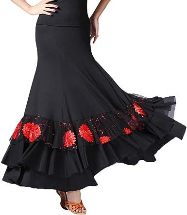 Falda de Flamenco Volante Cola de Pescado con Lentejuelas para ...