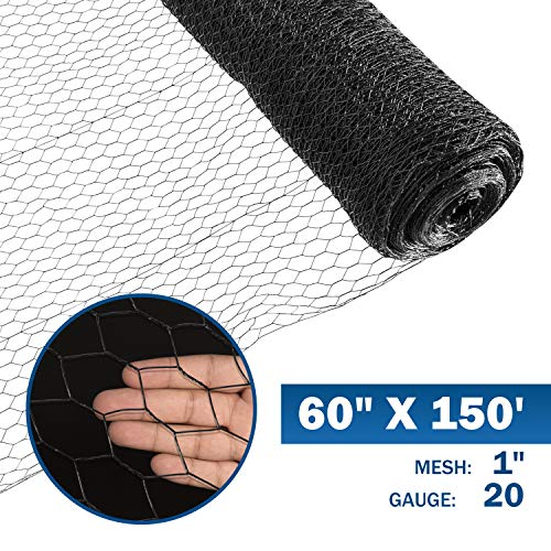 Fencer Wire 20 Gauge Black Vinyl Coated Poultry Hex Netting with 1 inch Mesh (5 ft. x 150 ft.) (Vinyl Poultry Fencing)