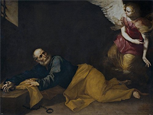 'Ribera Jose De San Pedro Libertado Por Un Angel 1639 ' Oil Painting, 18 X 24 Inch / 46 X 61 Cm ,printed On Polyster Canvas ,this Vivid Art Decorative -