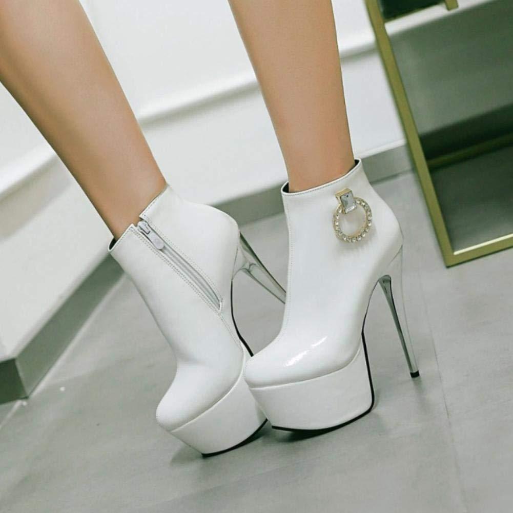 NVXUEZIX Damen Damen Damen Schuhe Kunstleder Herbst Winter Modische Stiefel Stiefel Runde Zehe Stiefelies Stiefeletten Schnalle Für Normal Kleid Weiß Schwarz 619e55