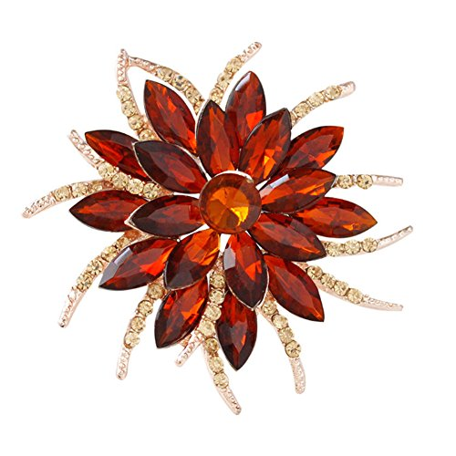 F&U Flower Brooch Pin Fashion Crystal Corsage for Women in Bouquet Wedding (red)