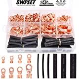 Swpeet 245Pcs Copper Ring Terminals Open Barrel Wire Crimp Copper Ring Lugs Terminal Connector with 2:1 Heat Shrink Tubing Assortment Kit (OT 5A 10A 20A 30A 40A 50A 60A 100A)