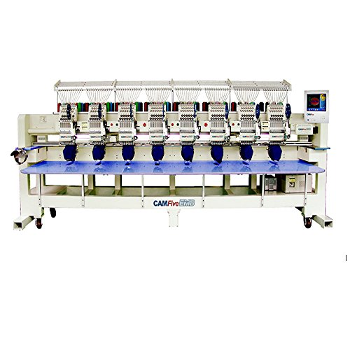 CAMFive Eight Heads Professional Industrial Embroidery Machine, On-Site Installation & Training, 3000VA Voltage Regulator, Madeira Thread 8 Head Starter Kit & Wilcom OEM Digitalized Software Installation Training