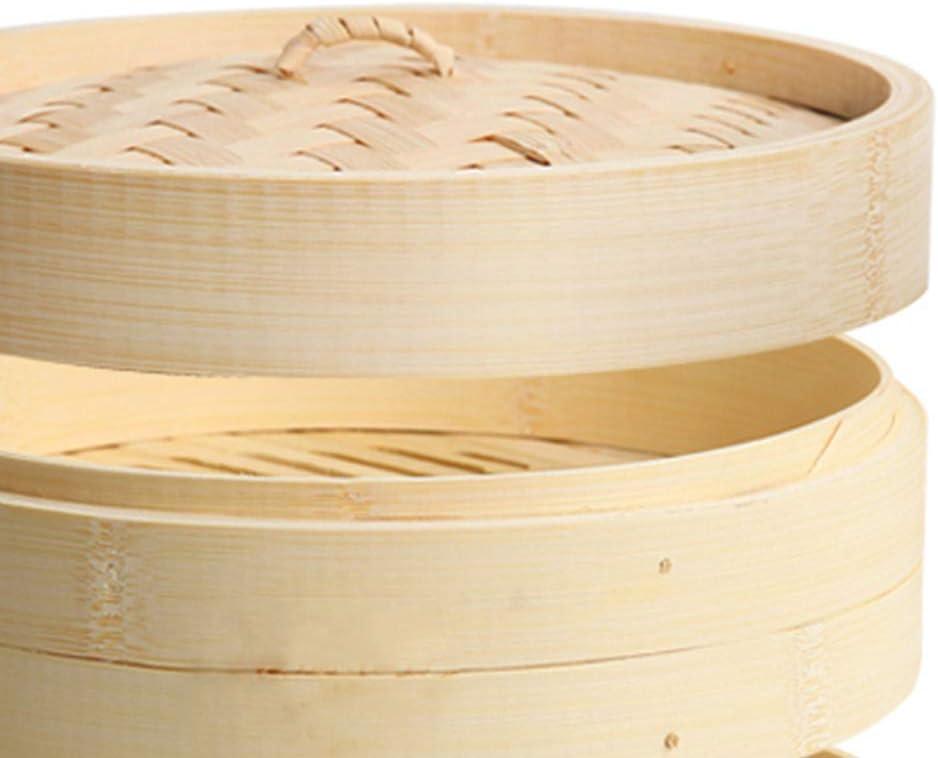 CARRYKT 2 Livelli con Coperchio Cestello per Cottura a Vapore in bamb/ù Cestello per Cottura a Vapore Asiatico per Gnocchi Dim Sum