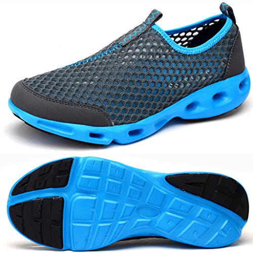 Lisyline Mens Mesh Slip On Quick Dry Aqua Water Shoes Walking Sneakers Grigio Scuro
