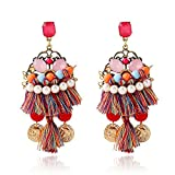 FENGLEI National wind inlaid with gem tassel pearl tassel earrings for women and girls earring set