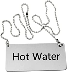 New Star Foodservice 27501 Stainless Steel Chain Sign, (Hot Water), 3.5