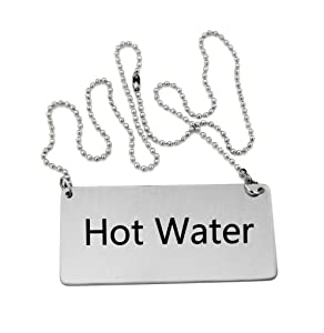 New Star Foodservice 27518 Stainless Steel Chain Sign, (Hot Water), 3.5