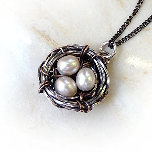 Bird's Nest Pendant  Pearl Eggs – Mother Nature Jewelry, Antique Silver  Gold Bronze Handmade Wire Wrapped Nest – Intricate, Solid Necklace – Mother…