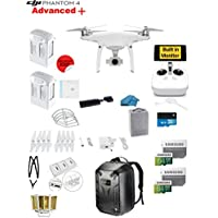 DJI Phantom 4 ADVANCED Plus Quadcopter Drone with 1-inch 20MP 4K Camera KIT + 2 Total DJI Batteries + 2 64GB Micro SDXC Cards + Reader 3.0 + Prop Guards + Charging Hub + Range Extender + Backpack