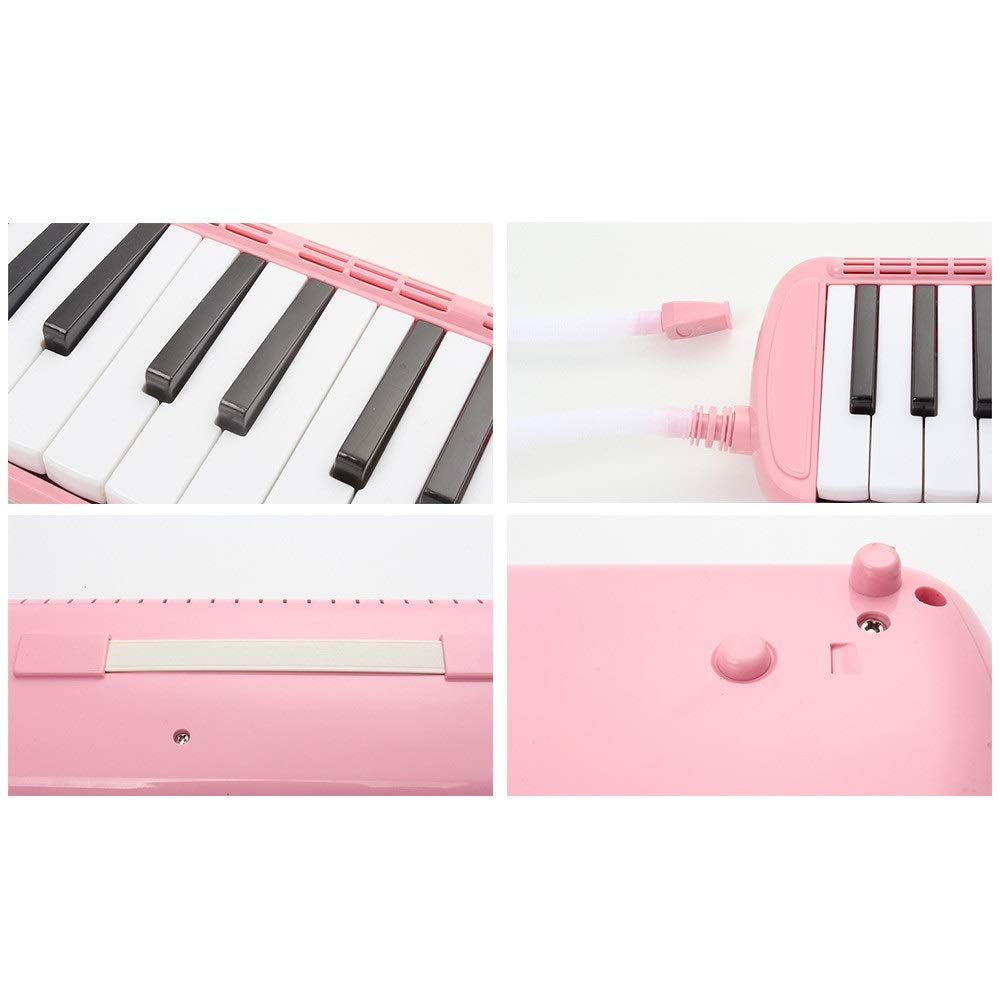 Melodica Musical Instrument 37 Keys Kids Musical Piano Melodica Instrument Gift Toy Pianica Melodica For Music Lovers Beginners Portable With Mouthpieces Tube Sets Carrying Bag Pink Blue For Music Lov by Kindlov-mus (Image #4)