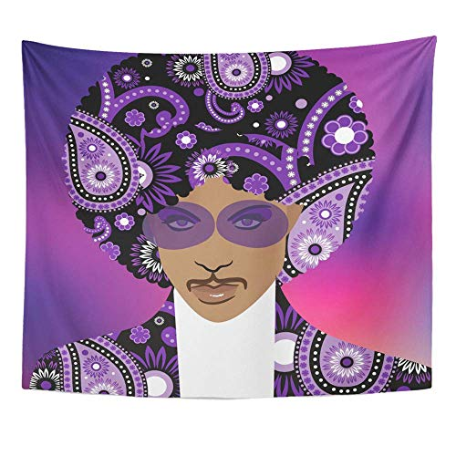 YGRTSYTR Tapestry Wall Art Home Decor April 24 Illustrative Editorial Drawing of Musical Artist Prince Wall Hanging Tapestry Beach Towel Tablecloth Wall Blanket -