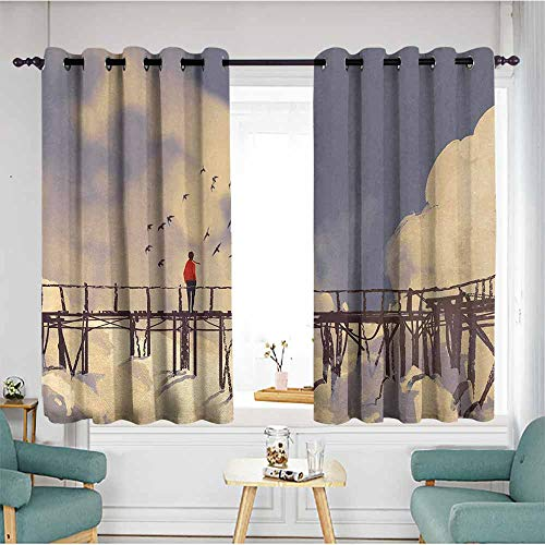 Art Printed insulation curtain Man Standing on Unsafe Bridge Looking at Clouds Outdoor Depression Loneliness Art Print Home Garden Bedroom Outdoor Indoor Wall Decorations 55
