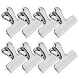 MORSLER Chip Clips & Stainless Steel Heavy-Duty Food Bag Clips 8 Packs - Large and Durable with 3 Inch Wide, Perfect for Air Tight Seal Grips on Coffee,Food & Bread Bags,Office Kitchen Home Usage