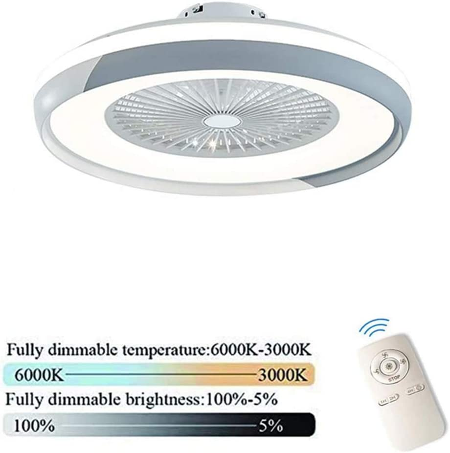 HGW Silenciosa luz Ventilador de Techo Regulable con Mando a Distancia Ultra Delgado diseño del Techo del LED luz de la habitación Dormitorio lámpara de Techo la lámpara del de niños,Gris