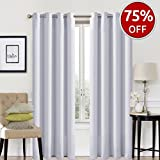 #8: EASELAND Blackout Curtains 2 Panels Set Room Darkening Drapes Thermal Insulated Solid Grommets Window Treatment Pair for Bedroom, Nursery, Living Room,W52xL84 inch,Greyish White