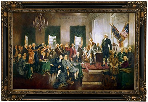 Constitution Framed (Historic Art Gallery Scene At the Signing of the Constitution of the United States 1940 by Howard Chandler Christy Framed Canvas Print, 19
