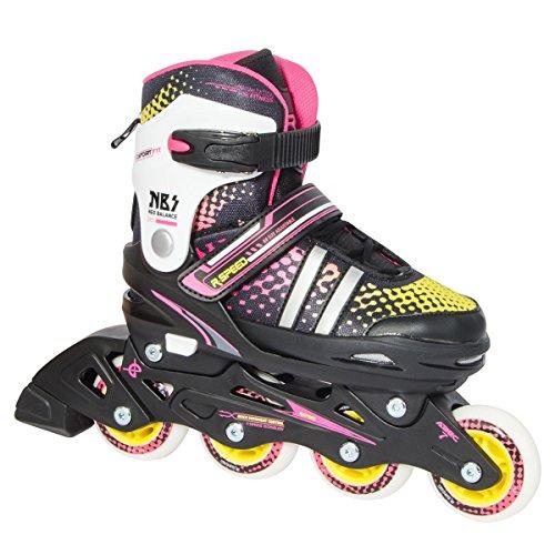 無限大規定難民r-speed調節可能インラインスケート、ピンクとブルー、ボーイズ、ガールズ、快適で安全beginner-seniorスケーター