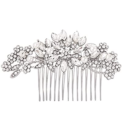"Fairy Moda Vintage Crystal Rhinestone Simulated Pearl Bridal Hair Comb 4"" by 1 1/2"""
