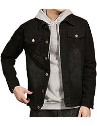 Men's Black Jean Jacket Slim Fit Distressed Denim Jacket