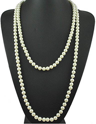 ART DECO Faux Pearls Flapper Beads Cluster Long Pearl Necklace Great Gatsby 55