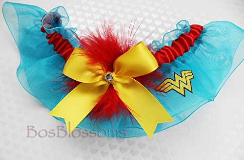Customizable handmade - sexy Wonder Woman garter made with Wonder Woman fabric on turquoise organza keepsake bridal wedding prom by BOYX Designs