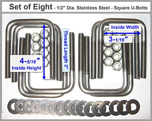(8) Stainless Steel Square U-Bolts Boat Trailer U bolt Ubolt 1/2'' D x 3 1/16'' W x 4 5/16'' L by TMW