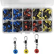 AvoDovA Fishing Tackle Swivels, 100 Pcs Fishing Beads and Swivels, Swivel Shank Clip Connector, Snap Links Swi
