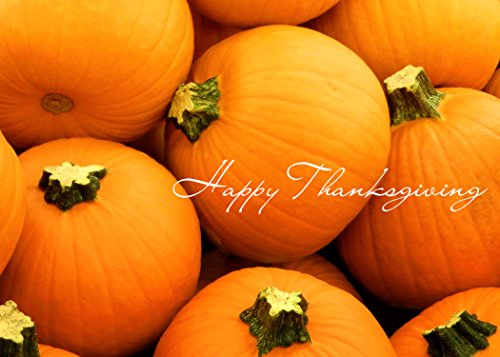 Thanksgiving Greeting Cards - TH1504. Business Greeting Card Featuring Bright Orange Pumpkins. Box Set Has 25 Greeting Cards and 26 White with Gold Foil Lined Envelopes.