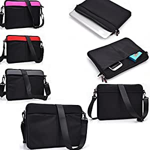Black protective neoprene sleeve/carrying messenger bag- Universal fit for - Universal design fits Sony VPCW222AX