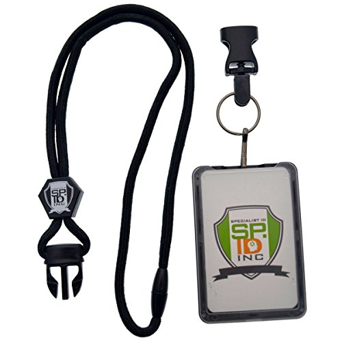 Top Loading THREE ID Card Badge Holder with Heavy Duty Lanyard w/ Detachable Metal Clip and Key Ring by Specialist ID, Sold Individually (One Holder / 3 Cards Inside) (Black) Photo #4