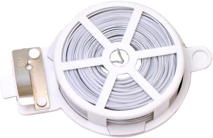 1 Coil 50m Multifunction Line Organizer-Gardening Tape Sturdy Metal Cable Garden Plant Twist Tie Clamps/Clasps Tie with Cutter for Gardening Home Office Using (White)