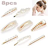 Pearl Hair Clips for Women Girls, 8pcs Fashion Sweet Artificial Pearl Alligator Clips Barrettes Bobby Pins Snap Clips Decorative Hair Accessories for Party Wedding Daily, Applies to Bun Updo,Kawaii