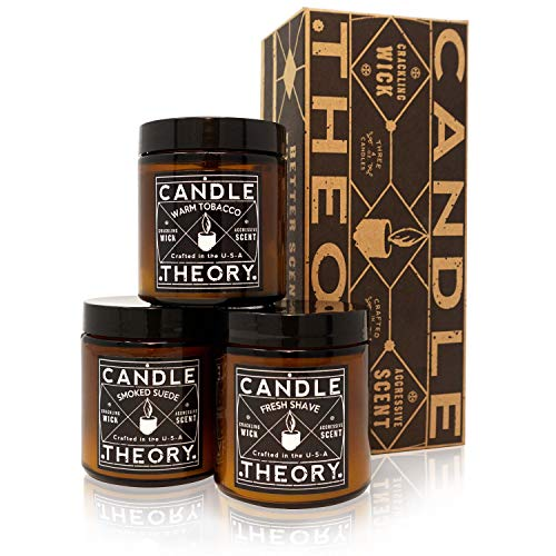 MAINEVENT Scented Candle Set with Crackling Wood Wicks - 3 Scents - Warm Tobacco, Fresh Shave & Smoked Suede - Designed for Both Men and Women but for Man Cave Decor