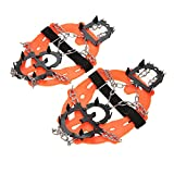 Sun Vale 2pcs 14-Teeth Ice Gripper 2 Color Sports Anti-Slip Ice Grips Cleats Shoe Boot Grips Crampon Chain Spike Snow for Hiking Climbing