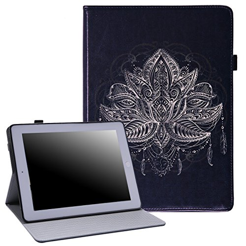 HDE iPad 2 3 4 Case Slim Fit Leather Folio Cover Magnetic Closure Auto Sleep Wake Flip Stand for Apple iPad 2nd 3rd 4th Generation (Lotus Flower)
