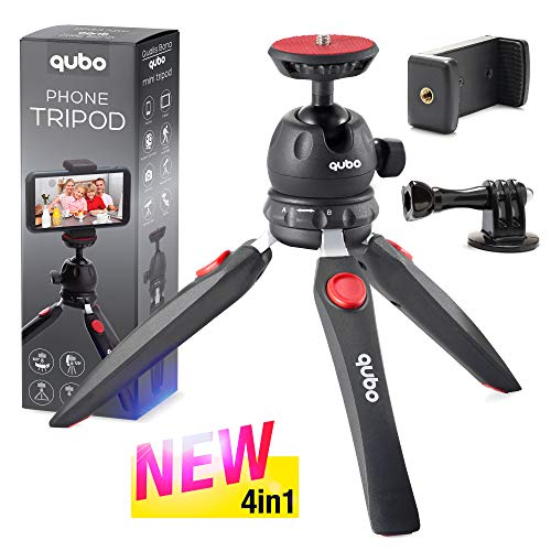 qubo Phone Tripod Camera Stand - New Premium Mini Tripod - Cell Phone Holder - Camera Tripod for GoPro Mount - Compatible with iPhone/Samsung Webcam Compact Digital Camera (4 in 1)