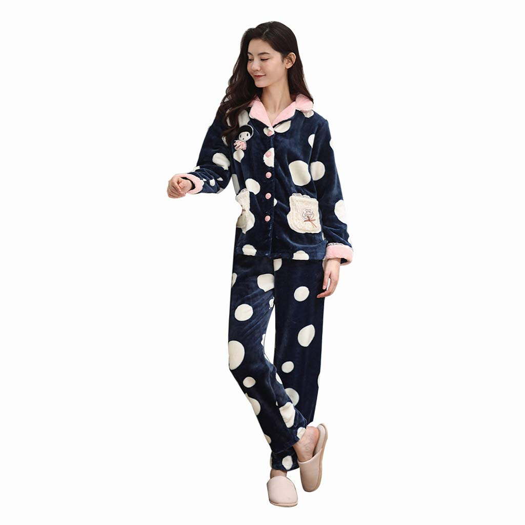 bluee Pajamas Ladies Autumn and Winter Thickening can wear Two Sets of bluee Cute Home Service Suit Sleep & Lounge (color   bluee, Size   XL)
